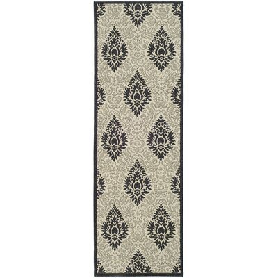 Jarrow Sand/Black Outdoor Area Rug Rug Size: Runner 24 x 67