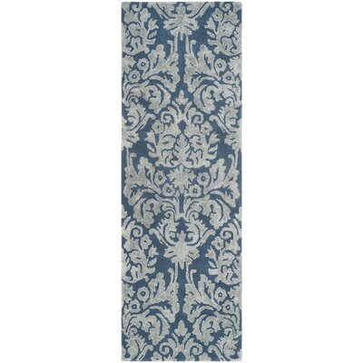 Mcguire Hand-Tufted Navy/Gray Area Rug Rug Size: Runner 23 x 7
