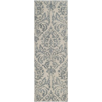 Mcguire Hand-Tufted Ivory/Silver Area Rug Rug Size: Runner 23 x 7