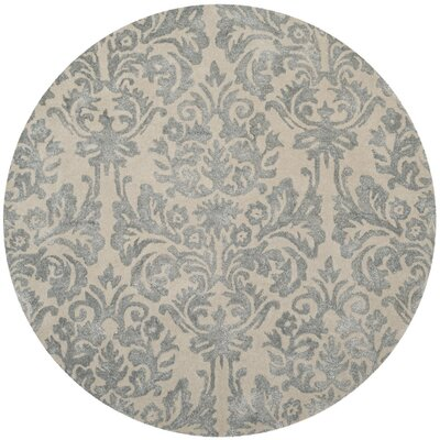Romford Hand-Tufted Ivory/Silver Area Rug Rug Size: Round 5'