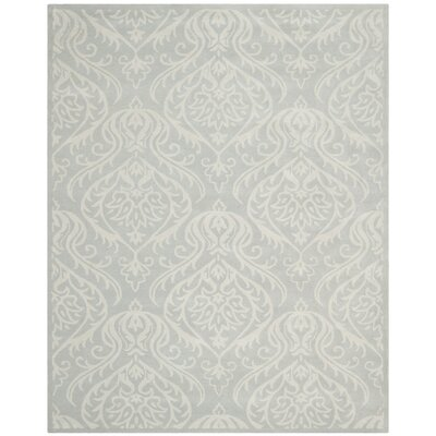 Mcguire Hand-Tufted Wool Silver/Ivory Area Rug Rug Size: Rectangle 9 x 12