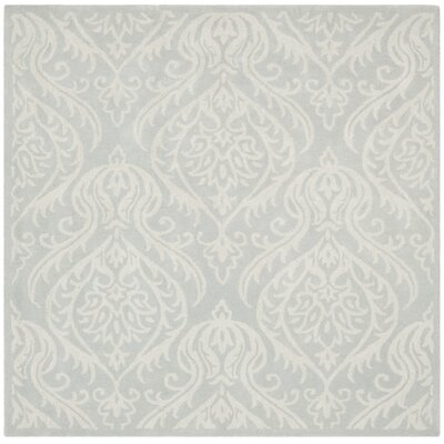 Mcguire Hand-Tufted Wool Silver/Ivory Area Rug Rug Size: Square 6