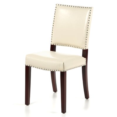 Mcknight Bicast Leather Side Chairs in Cream Finish: Linen - Cream
