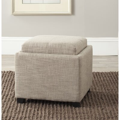 Brandon Single Tray Storage Ottoman Upholstery: Stone