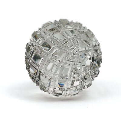 Silver Glass Checked Ball Sculpture