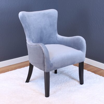 Kaat Velvet Wingback Chair Upholstery: Sharkfin Gray