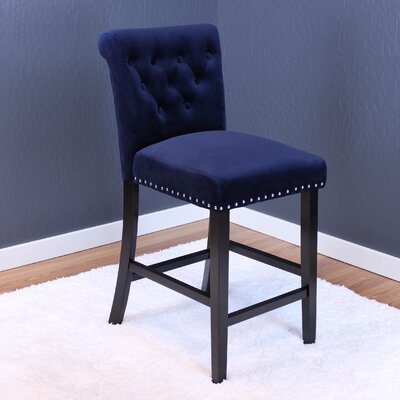 Coldale Velvet Counter 26 inch Bar Stool with Cushion Upholstery: Ink Navy