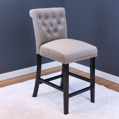 Erling Velvet Counter 26 Bar Stool Upholstery: Taupe