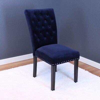 Erling Velvet Parsons Chair Upholstery: Ink Navy