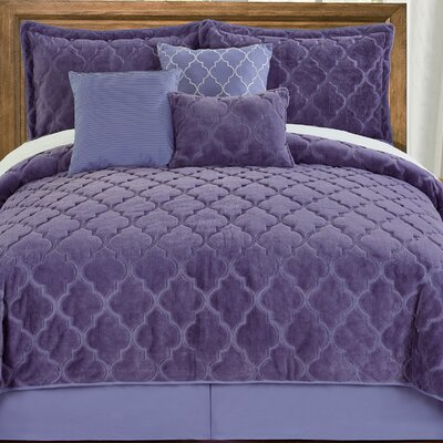 Elford Faux Fur Embroidered 7 Piece Quilt Set Size: Queen, Color: Daybreak