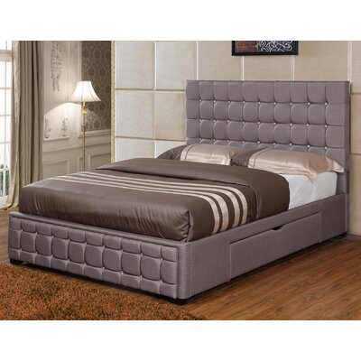 Stina Upholstered Storage Platform Bed Size: King, Color: Khaki