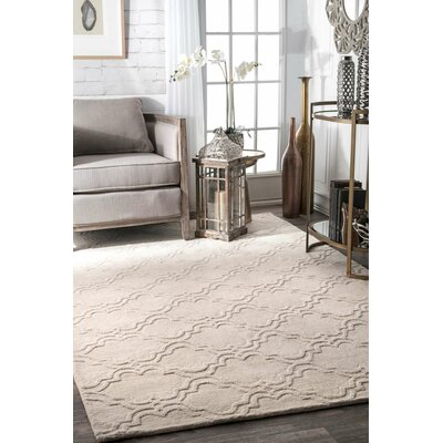 Alonza Hand-Woven Cream Wool Area Rug Rug Size: Rectangle 76 x 96