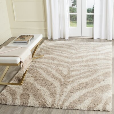 Blumefield Shag Ivory/Beige Area Rug Rug Size: Rectangle 67 x 92