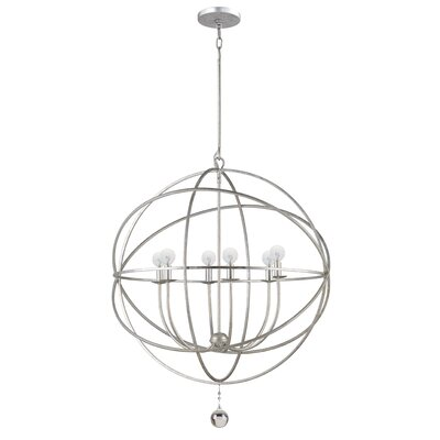 Bridger 6-Light Candle-Style Chandelier Finish: Olde Silver, Size: Large