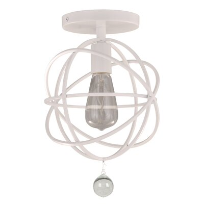 Gregoire�1�Light Semi Flush Mount Finish: White