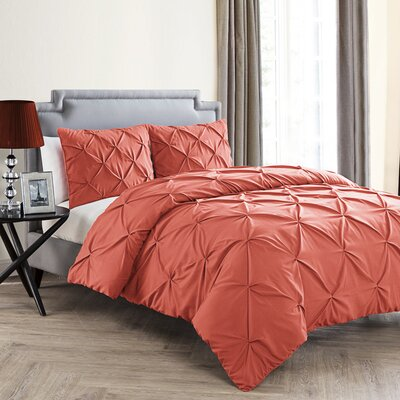 Uma Duvet Set Color: Coral, Size: Queen