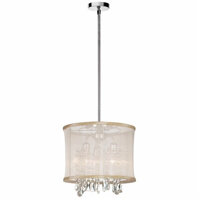 Deston 3-Light Convertible Drum Pendant Shade color: Oyster