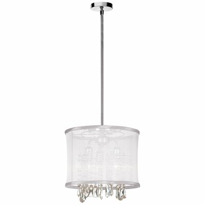 Deston 3-Light Convertible Drum Pendant Shade color: White