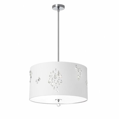 Deston Modern 3-Light Drum Pendant Shade color: White
