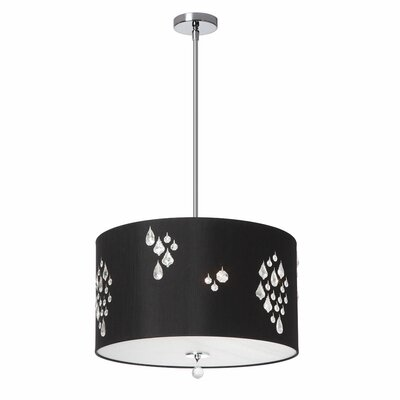 Deston Modern 3-Light Drum Pendant Shade color: Black