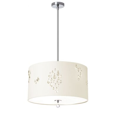 Deston Modern 3-Light Drum Pendant Shade color: Ivory