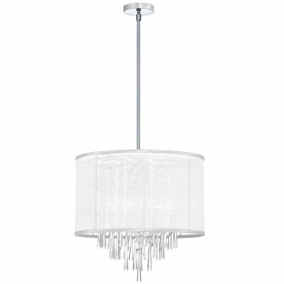 Deston 6-Light Convertible Drum Pendant Shade Color: White