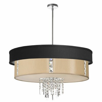 Deston Modern 4-Light Drum Pendant Shade Color: Matte Black and Cream
