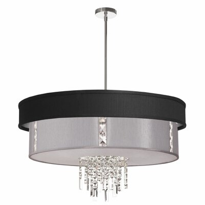 Deston Modern 4-Light Drum Pendant Shade Color: Matte Black and Steel