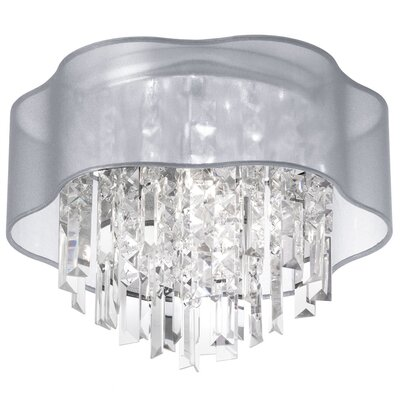 Deston 4-Light Fabric Shade Flush Mount Shade Color: Silver
