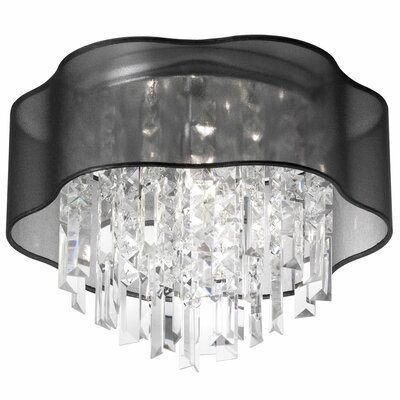 Deston 4-Light Fabric Shade Flush Mount Shade Color: Black