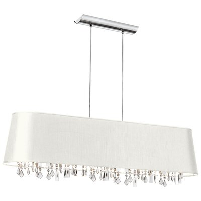 Ahull 5-Light Horizontal Drum Pendant Shade Color: White