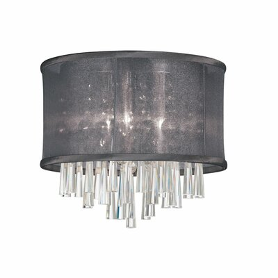 Starlee 3-Light Crystal Flush Mount Shade Color: Black