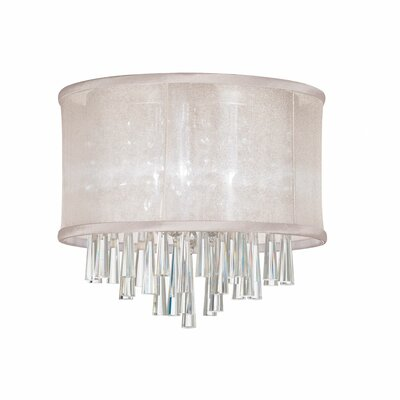 Starlee 3-Light Crystal Flush Mount Shade Color: Oyster