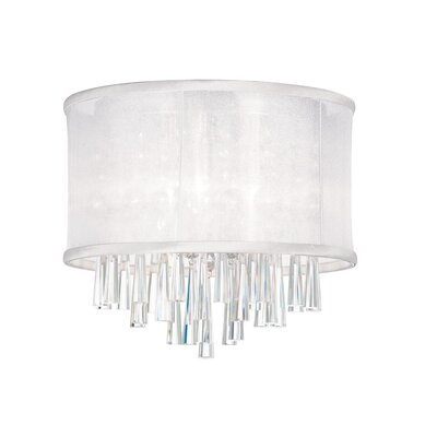 Starlee 3-Light Crystal Flush Mount Shade Color: White