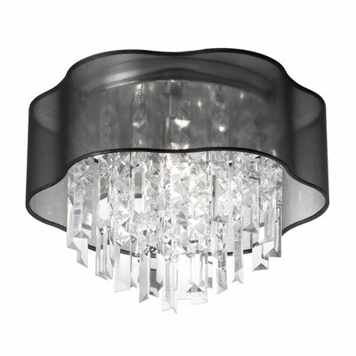 Azimuth 3-Light Crystal Flush Mount Shade Color: Black