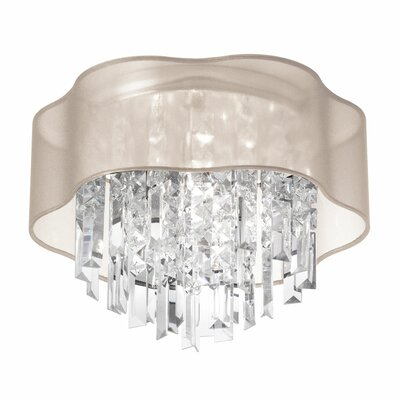Azimuth 3-Light Crystal Flush Mount Shade Color: Oyster
