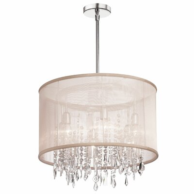 Deston Modern 6-Light Drum Chandelier Shade color: Oyster
