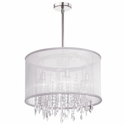 Deston Modern 6-Light Drum Chandelier Shade color: White