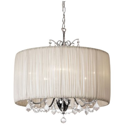 Juno 5-Light Drum Chandelier Shade color: Oyster