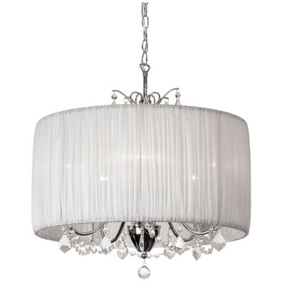 Juno 5-Light Drum Chandelier Shade color: White