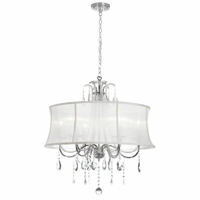 Oceane 6-Light Shaded Chandelier Shade Color: White