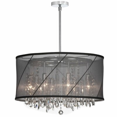 Deston 8-Light Fabric Shade Drum Chandelier Shade Color: Black and silver
