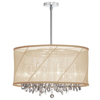 Deston 8-Light Fabric Shade Drum Chandelier Shade Color: Gold