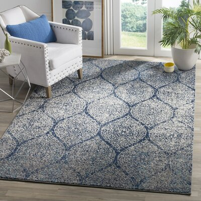Beachborough Blue/Gray Area Rug Rug Size: 67 x 92