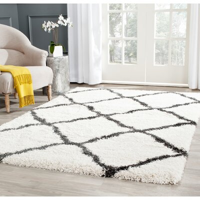 Charmain Ivory/Charcoal Area Rug Rug Size: Rectangle 8 x 10