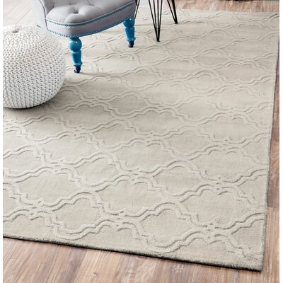 Alonza Hand-Woven Cream Wool Area Rug Rug Size: 76 x 96