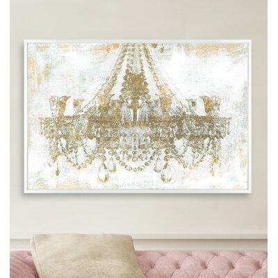 Gold Diamonds Framed Graphic Art Print on Canvas