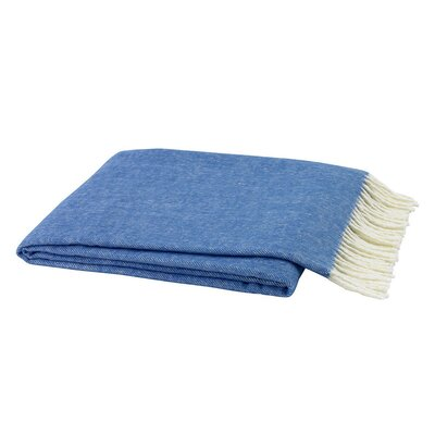 Houghton-le-Spring Herringbone Throw Blanket Color: Blue