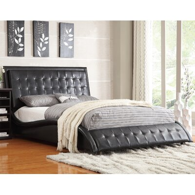 Alpha Queen Upholstered Platform Bed Upholstery: Black