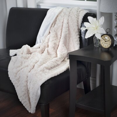 Penn Striped Throw Blanket Color: Beige